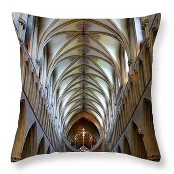 Wells Cathedral Ceiling  Throw Pillow by Lexa Harpell