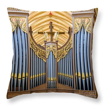 Throw Pillow featuring the photograph Wells Cathedral Organ by Colin Rayner