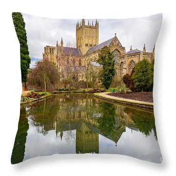 Throw Pillow featuring the photograph Wells Cathedral by Colin Rayner