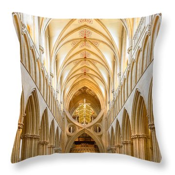 Wells Cathedral Nave Throw Pillow