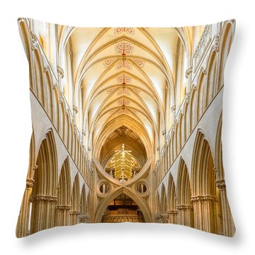 Throw Pillow featuring the photograph Wells Cathedral Nave by Colin Rayner