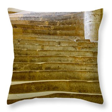 Throw Pillow featuring the photograph Wells Cathedral Steps by Colin Rayner