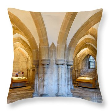 Throw Pillow featuring the photograph Wells Cathedral Undercroft by Colin Rayner