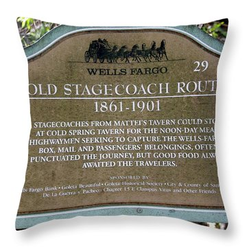 Wells Fargo Stage Coach Sign Throw Pillow