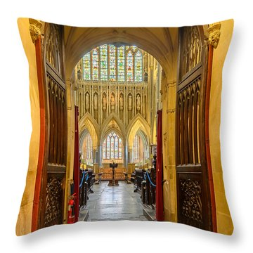 Throw Pillow featuring the photograph Wellscathedral, The Quire by Colin Rayner