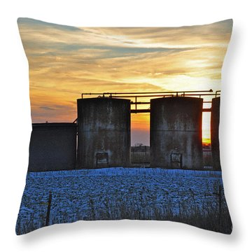 Wellsite Sunset Throw Pillow