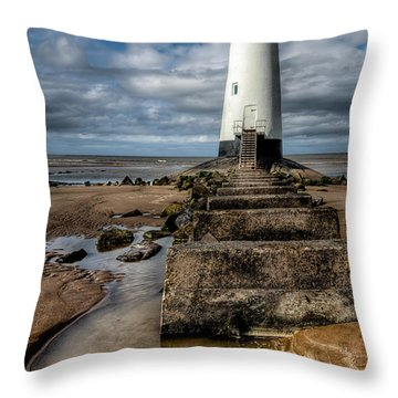 Welsh Lighthouse  Throw Pillow by Adrian Evans