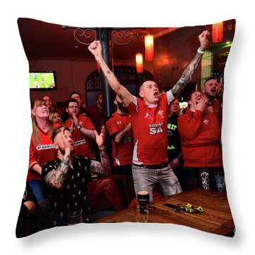 Welsh Rugby Fans Throw Pillow