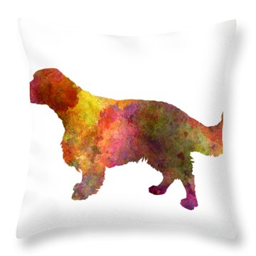Welsh Springer Spaniel In Watercolor Throw Pillow