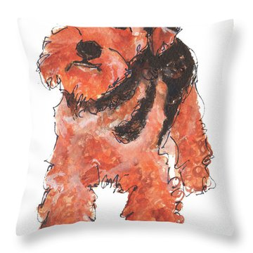 Welsh Terrier Or Schnauzer Watercolor Painting By Kmcelwaine Throw Pillow