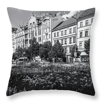 Throw Pillow featuring the photograph Wenceslas Square In Prague by Jenny Rainbow