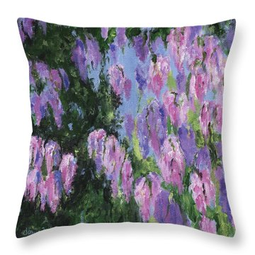 Throw Pillow featuring the painting Wendy's Wisteria by Jamie Frier