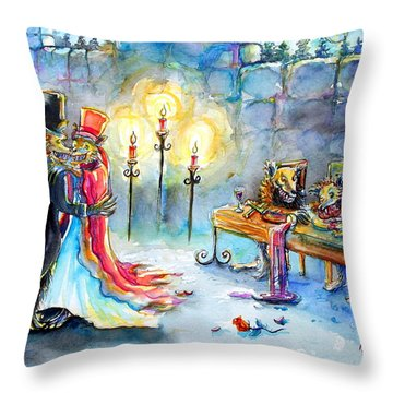 Throw Pillow featuring the painting Werewolf Romance by Heather Calderon