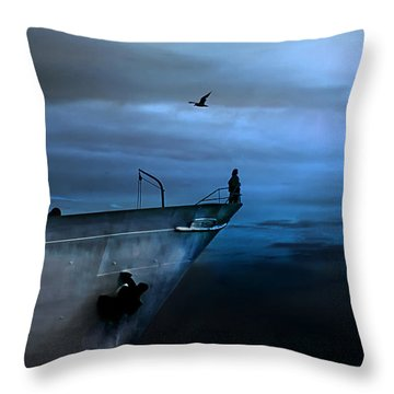 West Across The Ocean Throw Pillow
