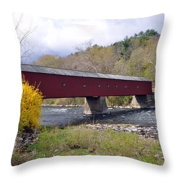 West Cornwall Ct Covered Bridge Throw Pillow