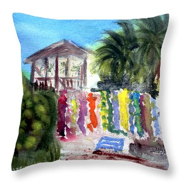 Throw Pillow featuring the painting West End Market by Donna Walsh