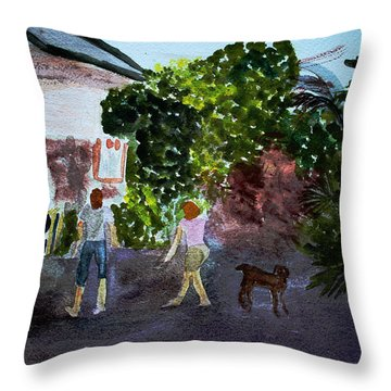 Throw Pillow featuring the painting West End Shopping by Donna Walsh