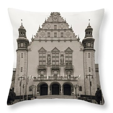 West Facade Of Adam Mickiewicz University Poznan Poland Throw Pillow