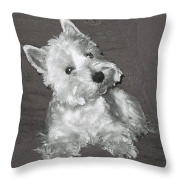 Throw Pillow featuring the digital art West Highland White Terrier by Charmaine Zoe