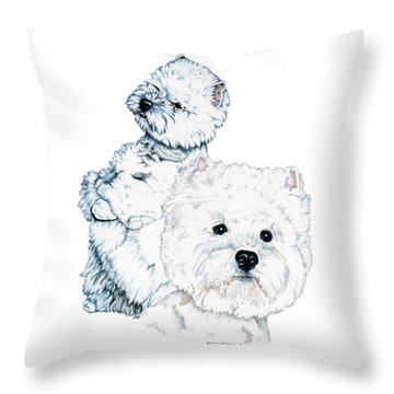 West Highland White Terriers Throw Pillow by Kathleen Sepulveda