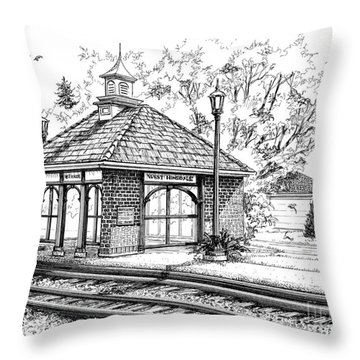 West Hinsdale Train Station Throw Pillow