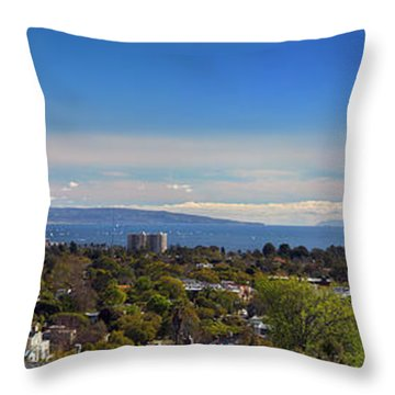 West La And Catalina Island From Pacific Palisades Throw Pillow by Wernher Krutein