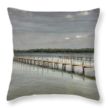 West Lake Docks Throw Pillow