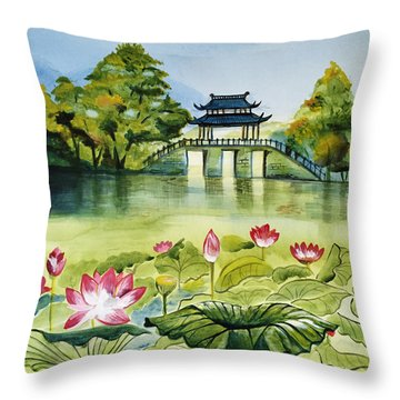 West Lake In Summer Throw Pillow