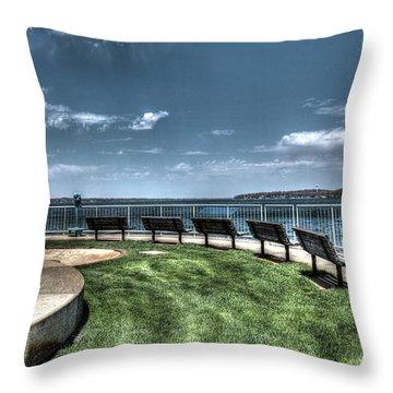 West Lake Okoboji Pier Throw Pillow
