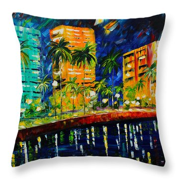 West Palm At Night Throw Pillow