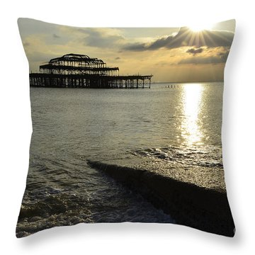 West Pier Brighton Throw Pillow