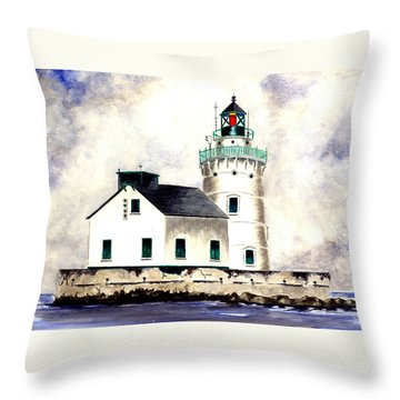 West Pierhead Lighthouse Throw Pillow by Michael Vigliotti