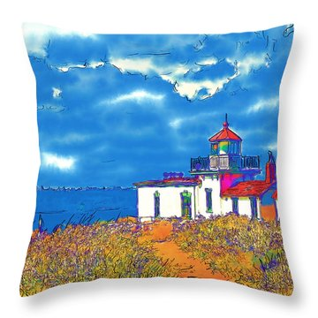 Throw Pillow featuring the digital art West Point In Watercolor by Kirt Tisdale