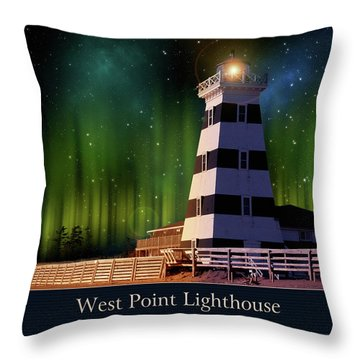 West Point Lighthouse Night Scene Throw Pillow