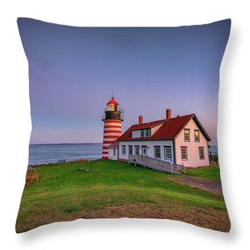 Throw Pillow featuring the photograph West Quoddy Head Light At Dusk by Rick Berk