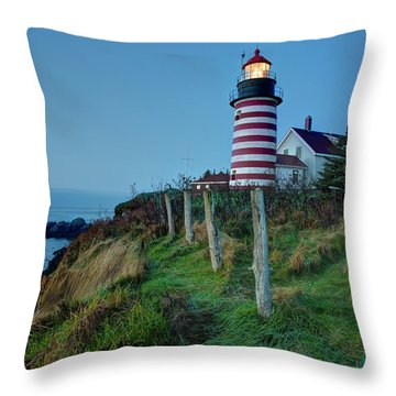 Throw Pillow featuring the photograph West Quoddy Head Light by Joe Paul
