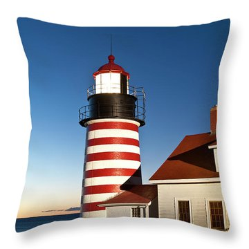 West Quoddy Head Lighthouse Maine Throw Pillow by John Greim