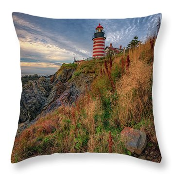 Throw Pillow featuring the photograph West Quoddy Head Lighthouse by Rick Berk