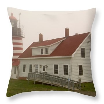 West Quoddy In Fog Throw Pillow