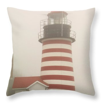 West Quody Head Lighthouse Throw Pillow
