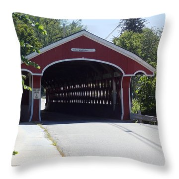 West Swanzey Covered Bridge Throw Pillow