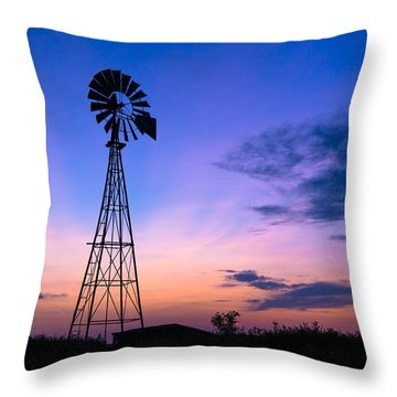 West Texas Windmill Throw Pillow