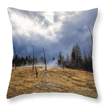 Throw Pillow featuring the photograph West Thumb Geyser Basin   by Lars Lentz