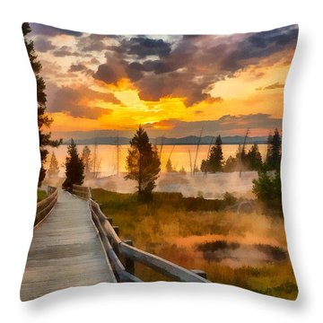 West Thumb Sunrise Throw Pillow