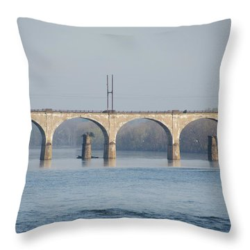 Throw Pillow featuring the photograph West Trenton Railroad Bridge Trenton Nj And Yardley Pa by Bill Cannon