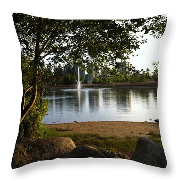 West View Of Lafarge Lake Throw Pillow by Rod Jellison