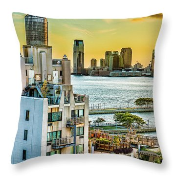 Throw Pillow featuring the photograph West Village To Jersey City Sunset by Chris Lord