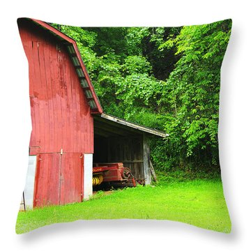West Virginia Barn And Baler Throw Pillow by Thomas R Fletcher