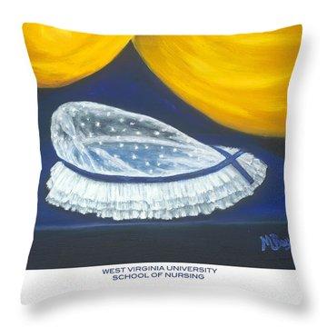 West Virginia University School Of Nursing Throw Pillow by Marlyn Boyd