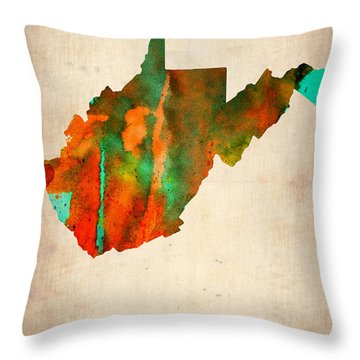 West Virginia Watercolor Map Throw Pillow